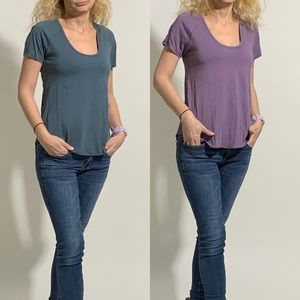 2 Wilfred Scoop-Neck Soft T-Shirts size XS